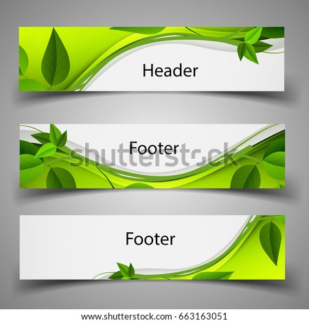 Website template header footer green nature stock vector 663163051 website template header and footer green nature leaves toneelgroepblik Images