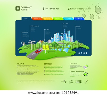 Website template. Infographics concept at the cap. Business promo. Vector. Editable. - stock vector