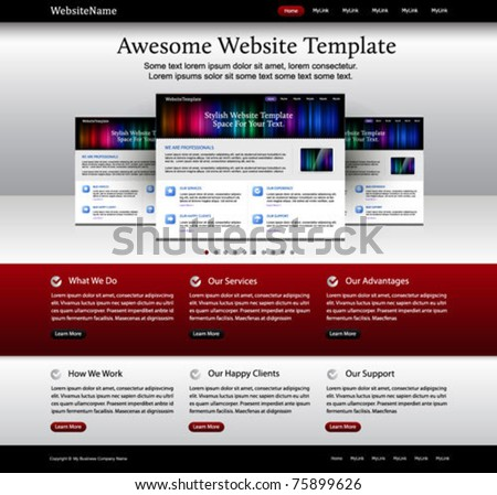 website template - metallic, red, white, black colored - stock vector