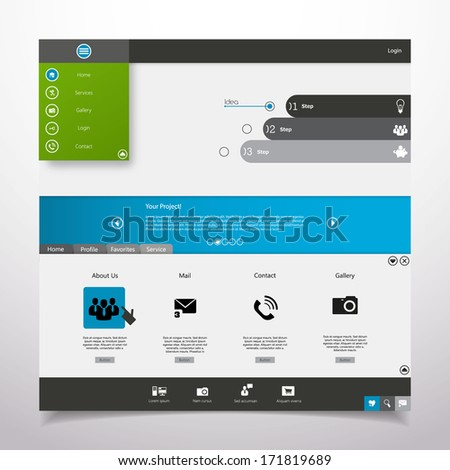 Website Template Minimal theme - stock vector