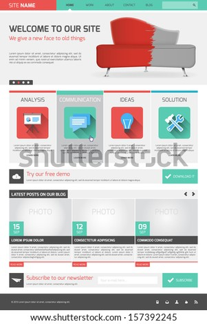 Website template - modern flat design - stock vector