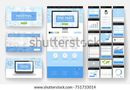 Website template one page design headers stock vector 2018 website template one page design headers and interface elements industrial blueprint backgrounds malvernweather Images
