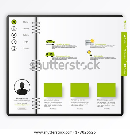 Website template  Open notepad with bookmarks  - stock vector