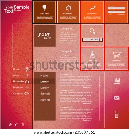 Website template orange pink design, vector - stock vector