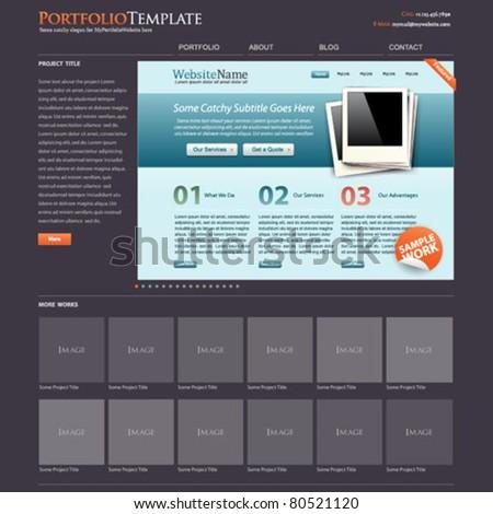 website template portfolio + bonus modern website layout is included! - stock vector