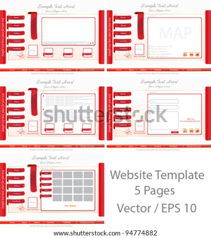 Website Template Set - stock vector