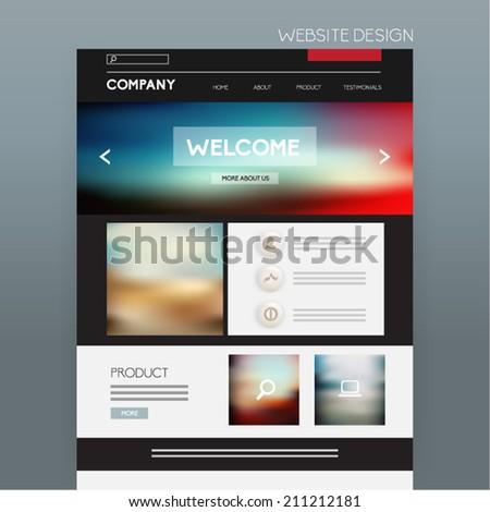 Website Template Vector Design - stock vector