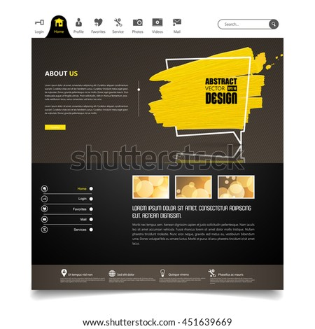 Website Template Vector Eps10, Modern Web Design with flat UI elements, and abstract speech bubble. Ideal for Business layout. - stock vector
