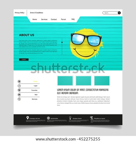 Website Template Vector Eps10, Modern Web Design with flat UI elements, and header with painted smiley face. Ideal for Business layout. - stock vector
