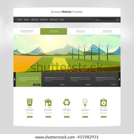 Website Template Vector, with landscape vector illustration. Creative design.