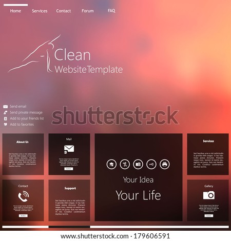 Website template Vector. with photorealistic sunrise, illustration.  - stock vector
