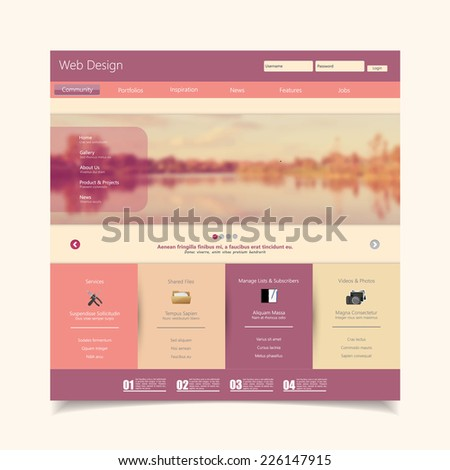 Website Template with a retro vintage instagram colors, filter, and blurred background - stock vector