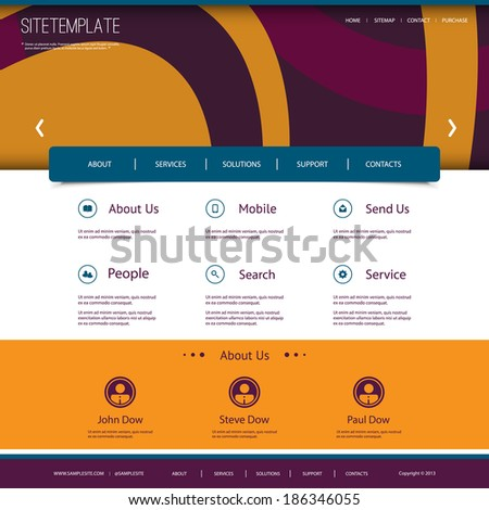Website Template with Abstract Header Design - Ovals Pattern - stock vector