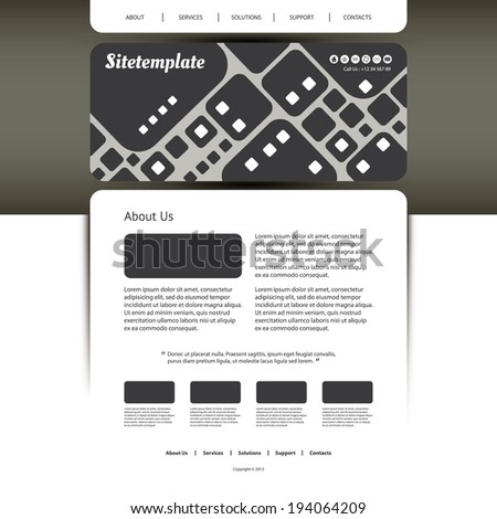 Website Template with Abstract Header Design - Squares Pattern - stock vector