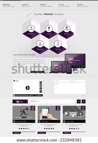 Website Template with Abstract hexagon infographics Design, Eps 10 vector illustration, - stock vector