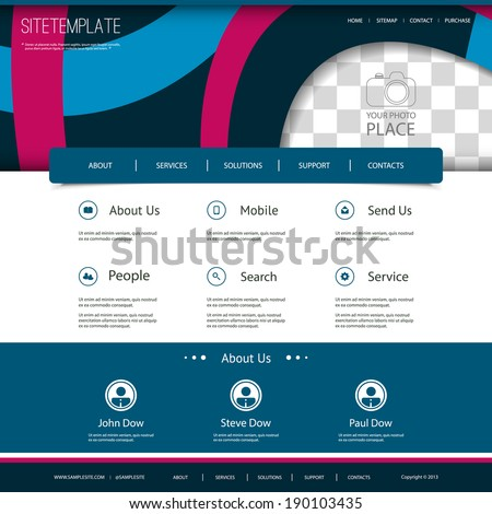 Website Template with Abstract Pattern Design and Place for Your Photo - stock vector