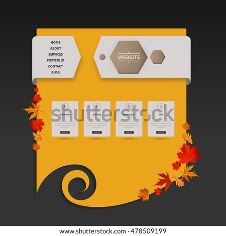 Website Template with Autumn Leaves Illustration. Vector Eps 10