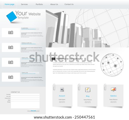 Website Template with City Illustration in the Header Background Design - stock vector