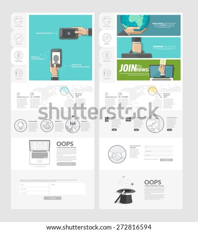 Website Template With Concept Icons For Business Company: Set Of Two Flat  Pages Website Design  Company Portfolio Template