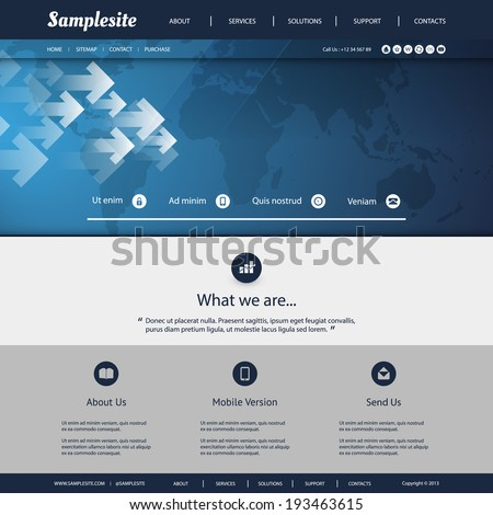 Website Template with Earth Map Pattern Design for Your Business Site - stock vector