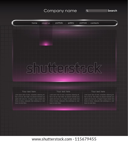 Website template with glass panels. Part of set. - stock vector