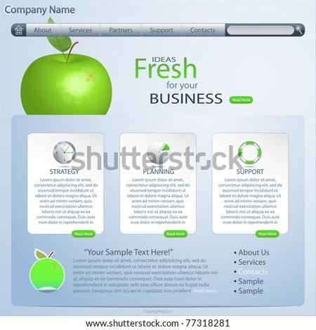 website template with green apple, vector - stock vector
