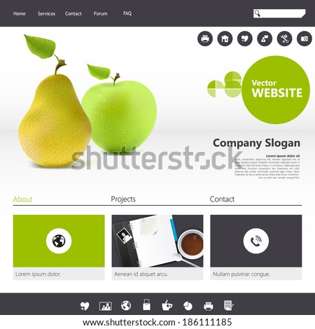 Website Template with realistic fruit illustration. - stock vector