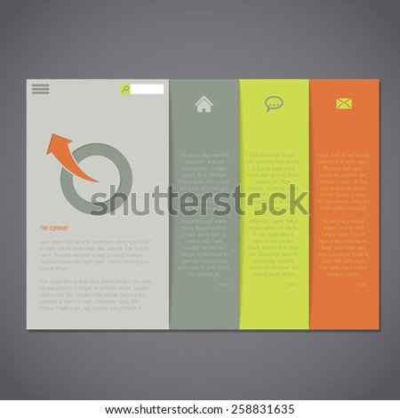 Website template with simplistic but colorful design - stock vector