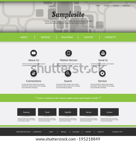 Website Template with Squares Pattern Design for Your Business Site - stock vector