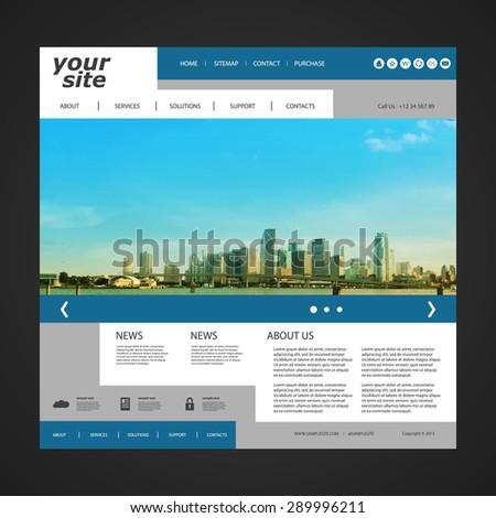 Website Template with Unique Design - Miami Skyline - stock vector