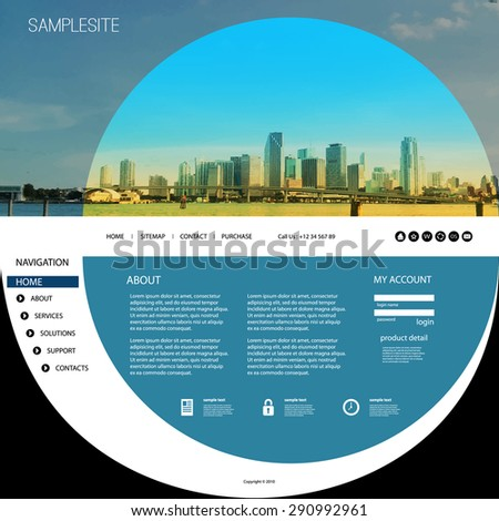 Website Template with Unique Design - Miami Skyline - stock vector