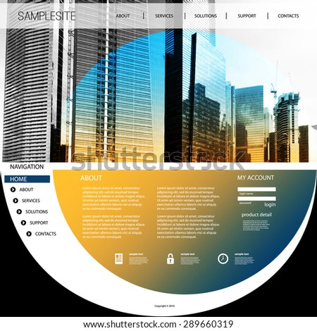 Website Template with Unique Design - Singapore Skyline - stock vector