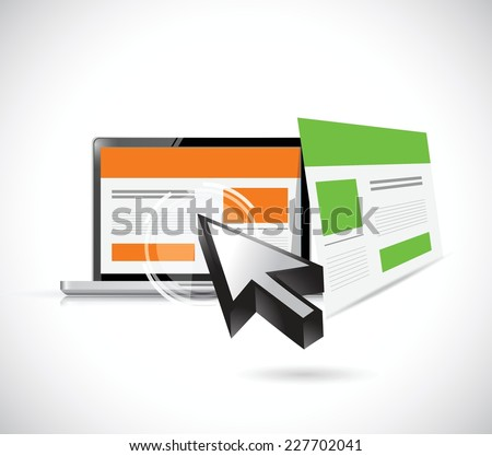 website templates and computer illustration design over a white background - stock vector