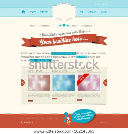Website vector template - modern retro design - stock vector