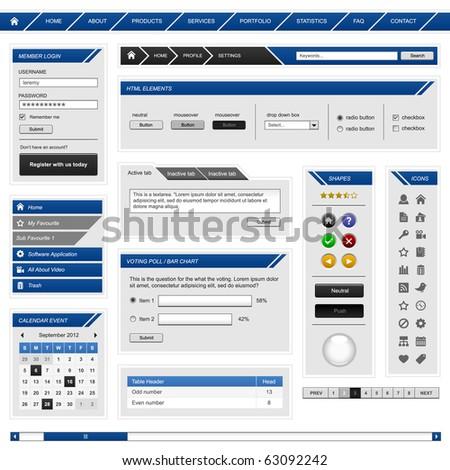 Website Web Design Element Template Frame Stock Vector 63092242 ...