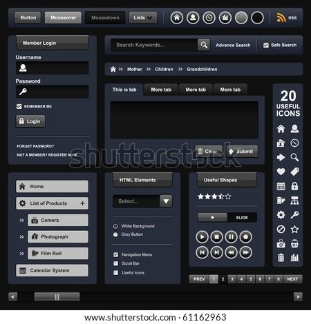 Website Web Design Elements Dark Template Stock Vector 61162963 ...