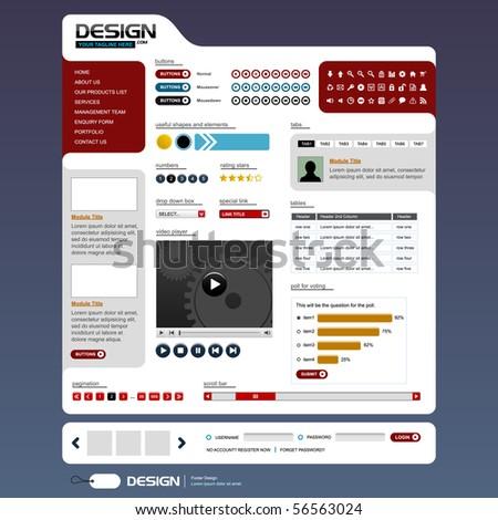 Website Web Design Elements Template - stock vector