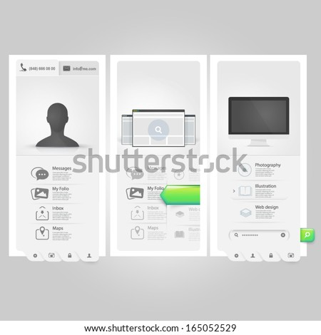 Webste template Ui elements:Personal Vcard portfolio with icons - stock vector