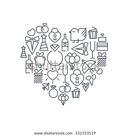 Wedding and happy birthday lined icons set on the white background in the form of heart.  Vector Illustration, eps10, contains transparencies. - stock vector