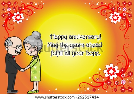 Wedding anniversary greeting card vector old stock vector 262517414 wedding anniversary greeting card vector with old people m4hsunfo