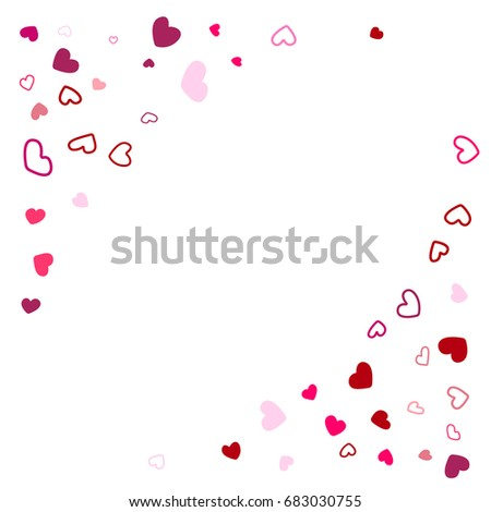 wedding background invitation card corners template vector heart confetti border with place for text