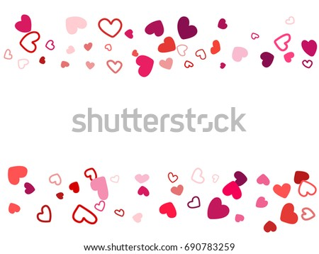 wedding background invitation card template vector heart confetti border with place for text