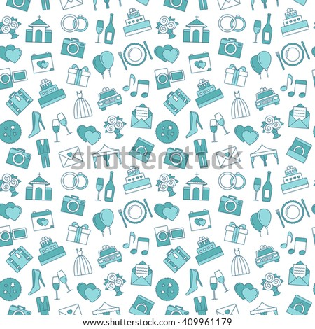 Wedding background. Seamless pattern of wedding object. Cartoon wedding symbols. - stock vector