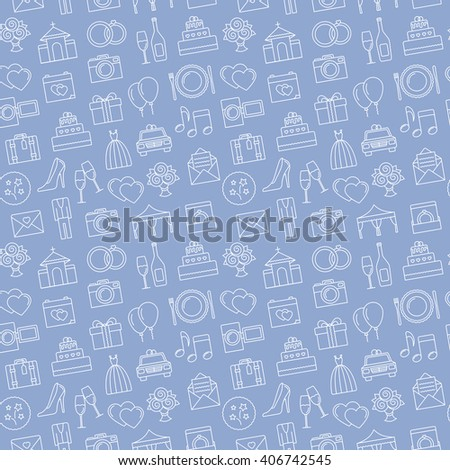 Wedding background. Seamless pattern of wedding object. Cartoon wedding symbols. Outline icons. - stock vector