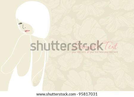 wedding background with beautiful girl - stock vector