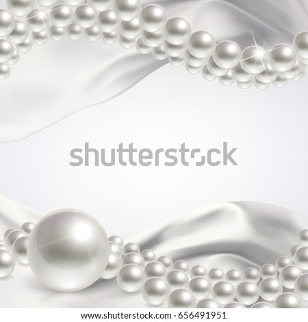 wedding background with pearls and white satin fabric
