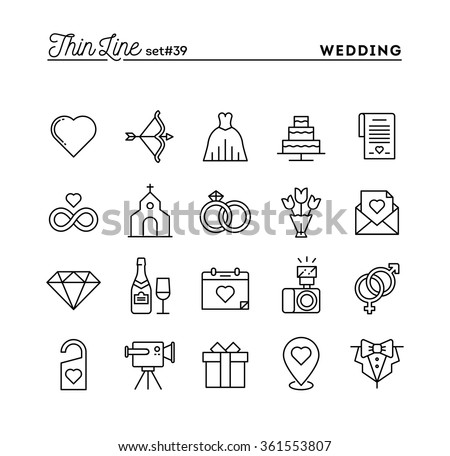 Wedding bridal dress event invitation celebration stock vector wedding bridal dress event invitation celebration party and more thin line icons stopboris Image collections