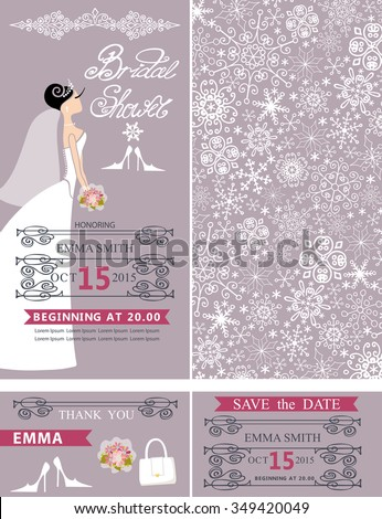 Wedding Bridal shower invitation set.Bride in wedding dress,snowflakes lace pattern,lettering title,frames ,retro design.Winter season save the date, thank you card.Holiday Vector,fashion illustration