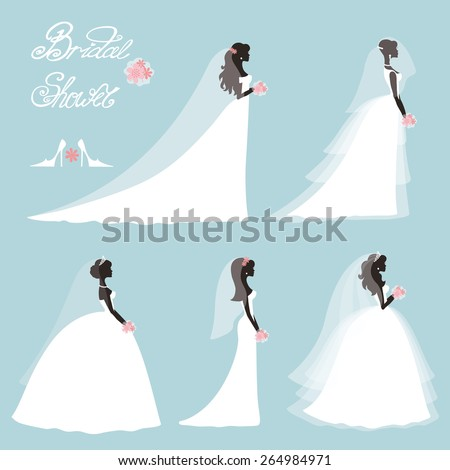 Wedding.Bride in Different dress style.Bridal shower decor set.Cartoon girl,woman silhouette,portrait,Swirling borders, ribbon,icons,label.Invitation Design template kit.Vintage Vector,flat fashion - stock vector