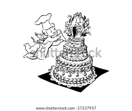 Wedding Cake And Cherub - Retro Clip Art - stock vector